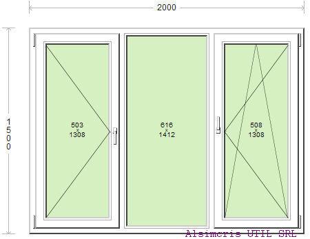 Termopan 200 / 150 cm - 2 deschideri - 1 simpla - 1 dubla