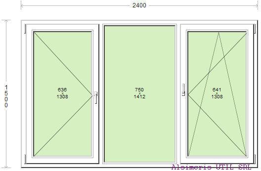 Termopan 240 / 150 cm - 1 deschidere simpla - 1 dubla