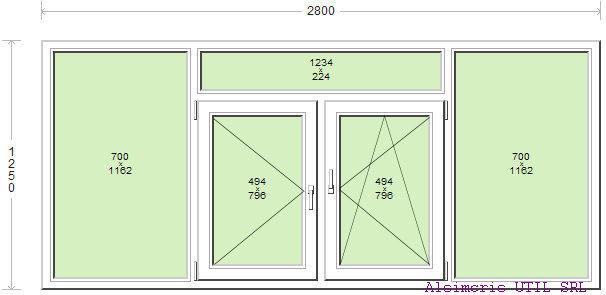 Termopan 280 / 150 cm - 2 deschideri - 1 simpla - 1 dubla - centrala