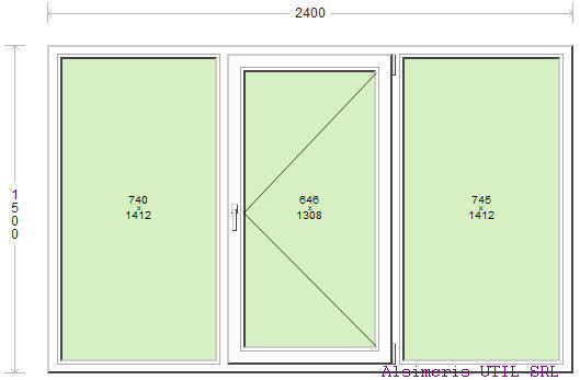 Termopan 240 / 150 cm - 1 deschidere Simpla - central