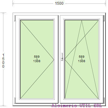 Termopan 150 / 150 cm - 1 deschidere simpla - 1 dubla