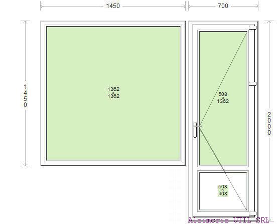 Usa balcon 70 / 200 cm si ochi fix 145 / 145 cm